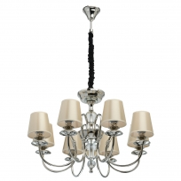 Hängeleuchte, Champagne/Fabric Nickel/Metal Transparent/Crystal 8*40W E14 2700K, 355013908