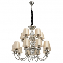 Hängeleuchte, Champagne/Fabric Nickel/Metal Transparent/Crystal 15*40W E14 2700K, 355014015