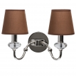 Wandleuchte, Brown/Fabric Chrome/Metal Transparent/Crystal 2*40W E14 2700K, 355024202