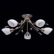 Deckenleuchte, Antike Messingfarbe/Metall Kristall/Weisses Glas 5*60W E14, 356012905