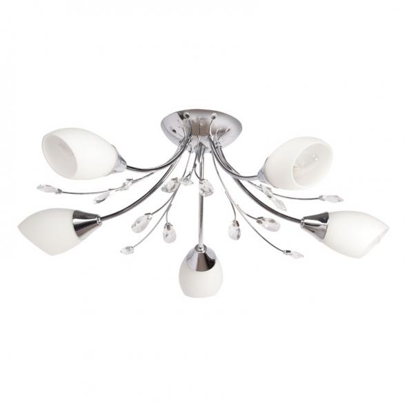 Deckenleuchte, Chromfarben / Metall Kristall/Glas 5*60W E14, 356015105