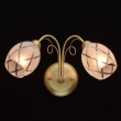 Wandleuchte, Matte Goldfarbe / Metall Glas 2*60W E14, 358021402