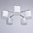 Deckenleuchte, Chrom+Holzfarbe/Metall Glas 5*60W E27, 364013605