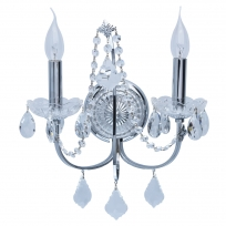 Wandleuchte, Chrom Farbe / Metal Kristall/Glas 2*60W E14, 367023202
