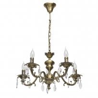 Hängeleuchte, Antique Brass/Metal Transparent/Crystal 5*40W E14, 371016305