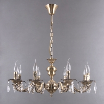 Hängeleuchte, Antique Brass/Metal Transparent/Crystal 8*40W E14, 371016408