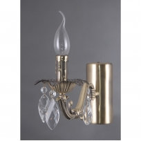 Wandleuchte, Antique Brass/Metal Transparent/Crystal 1*40W E14, 371026201