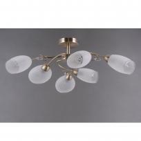 Deckenleuchte, Antique Brass/Metal White/Glass 6*40W E14 , 372014006