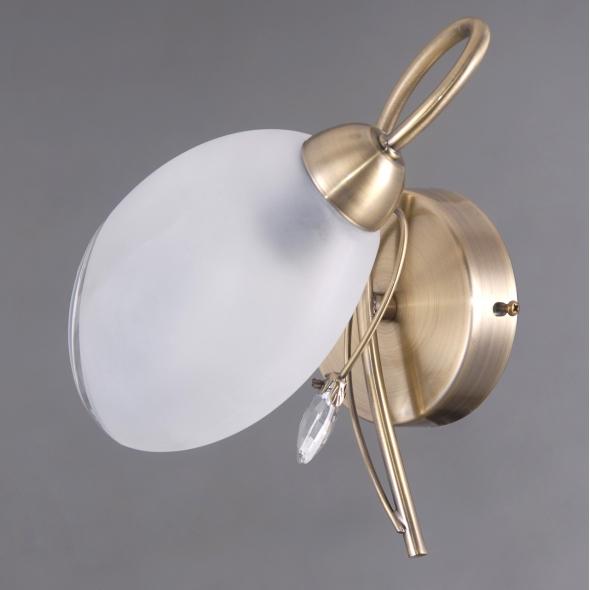 Wandleuchte, Antique Brass/Metal White/Glass 1*40W E14 , 372023901