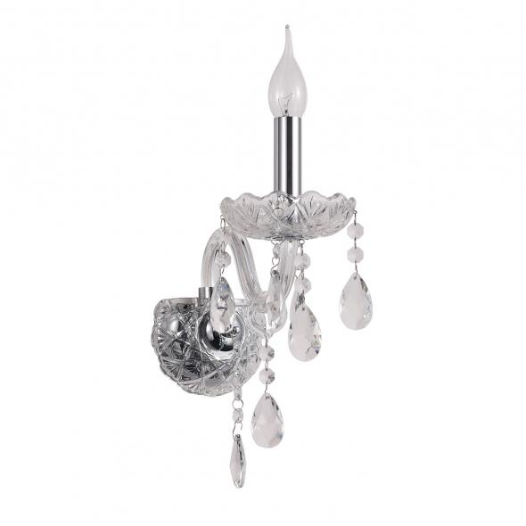 Wandleuchte, Chrome/Metal Transparent/Glass Transparent/Crystal 1*60W E14, 373024901
