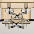 Hängeleuchte, Chrome/Metal Beige/Fabric Transparent/Crystal 8*40W E14 2700K, 386015908