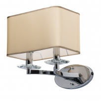Wandleuchte, Chrome/Metal Beige/Fabric Transparent/Crystal 2*40W E14 2700K, 386026202