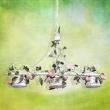Hängeleuchte, Milchweiss + Gelbfarbe / Metall Weiss Brush Gold 3*40W E27, 421014203
