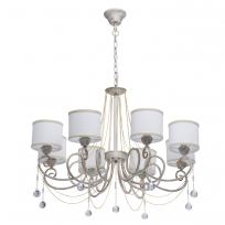 Hängeleuchte, White + Gold Color / Metal White Color  / Fabric Lampshade Transparent /Crystal 8*40W E14 2700–Ö, 448012508