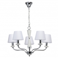 Hängeleuchte, Chrome/Metal White/Ceramics White/Fabric 5*40W E14, 448014205