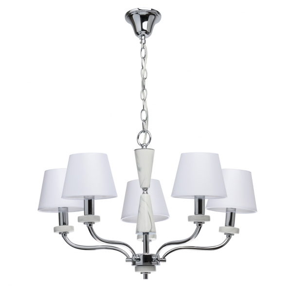 Hängeleuchte, Chrome/Metal White/Ceramics White/Fabric 5*40W E14, 448014205