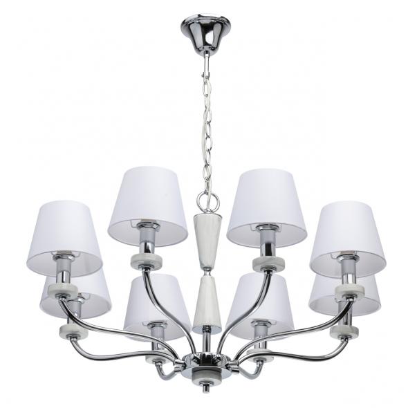 Hängeleuchte, Chrome/Metal White/Ceramics White/Fabric 8*40W E14, 448014308