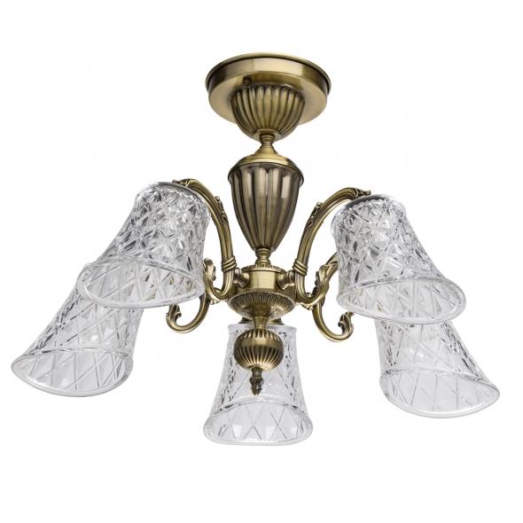 Deckenleuchte, Antique Brass/Metal Transparent/Glass 5*40W E14, 450019105