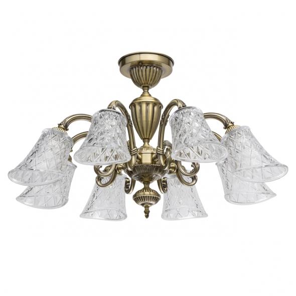Deckenleuchte, Antique Brass/Metal Transparent/Glass 8*40W E14, 450019208