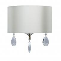 Wandleuchte, Antique Brass/Metal Cream/Fabric Transparent/Crystal 1*60W E14, 454021501