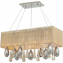 Hängeleuchte, Gold/Silk Thread Chrome+Silver/Metal Transparent+Golden Teak+Chrome/Crystal 10*2,5W G4 Led 3000K Bulb Included Remote Control, 465015510
