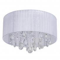 Deckenleuchte, White/Metal White/Fabric Transparent/Crystal 6*60W E14, 465015606