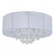 Deckenleuchte, Chrome/Metal White/Fabric Transparent/Crystal 6*40W E14, 465016006