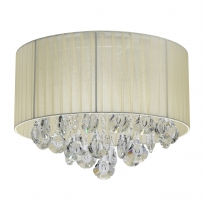 Deckenleuchte, Chrome/Metal Beige/Fabric Transparent/Crystal 4*40W E14, 465016304