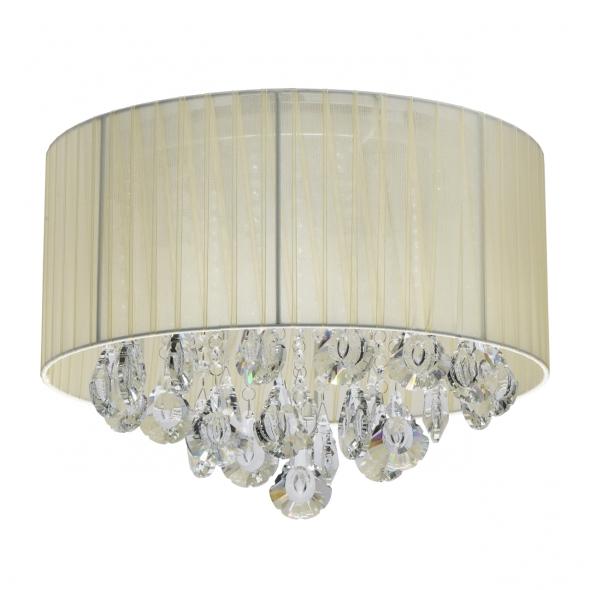 Deckenleuchte, Chrome/Metal Beige/Fabric Transparent/Crystal 4*40W E14, 465016304