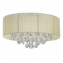 Deckenleuchte, Chrome/Metal Beige/Fabric Transparent/Crystal 6*40W E14, 465016406