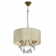 Deckenleuchte, Antique Brass/Metal Beige/Fabric Transparent/Crystal 4*40W E14, 465016504