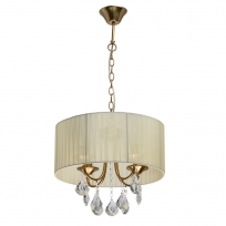 Deckenleuchte, Antique Brass/Metal Beige/Fabric Transparent/Crystal 4*40W E14, 465016504