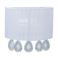 Wandleuchte, White/Metal White/Fabric Transparent/Crystal 1*40W E14, 465025801