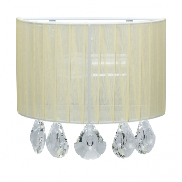 Wandleuchte, Chrome/Metal Beige/Fabric Transparent/Crystal 1*40W E14, 465026601