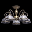 Deckenleuchte, Antike Messingfarbe / Metall Glas 5*60W E27, 481011805