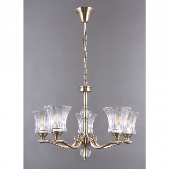 Hängeleuchte, Antique Brass/Metal Transparent/Glass 5*40W E14, 481013805