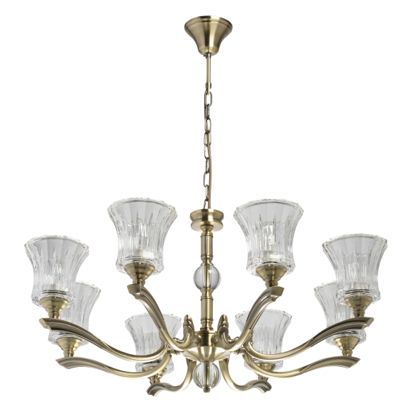Hängeleuchte, Antique Brass/Metal Transparent/Glass 8*40W E14, 481013908