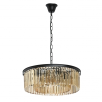 Hängeleuchte, Matt Black/Metal Golden Teak/Crystal 6*60W E14 2700K, 498014806
