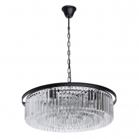 Hängeleuchte, Matt Black/Metall Transparent/Crystal 10*60W E14, 498014910