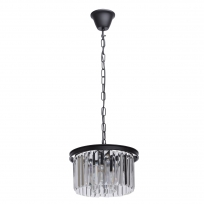 Hängeleuchte, Matt Black/Metall Transparent/Crystal 3*60W E14, 498015103