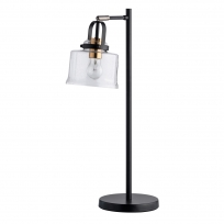 Tischleuchte, Black+Antique Brass/Metal Transparent+Pattern/Glass 1*10W Led E27, 551032401