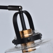 Tischleuchte, Black+Antique Brass/Metal Transparent+Pattern/Glass 1*10W Led E27, 551032401