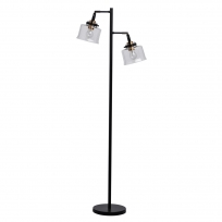 Stehleuchte, Black+Antique Brass/Metal Transparent+Pattern/Glass 2*10W Led E27 , 551042502