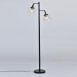Stehleuchte, Black+Antique Brass/Metal Transparent+Pattern/Glass 2*10W Led E27 , 551042502