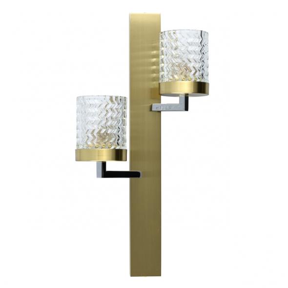 Wandleuchte, Chrome+Brass/Metal Transparent/Glass 2*60W E27, 605022002