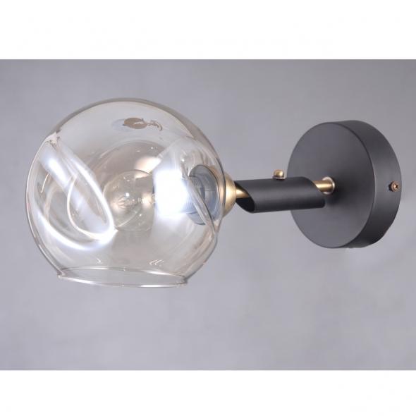Wandleuchte, Black+ Brass/Metal Golden Teak/Glass 1*40W E14, 605022701