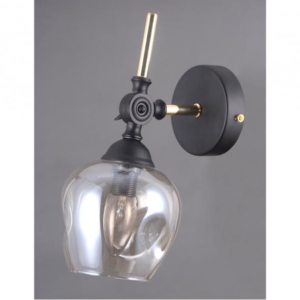 Wandleuchte, Black+Gold/Metal Golden Teak/Glass 1*40W E14, 605023201
