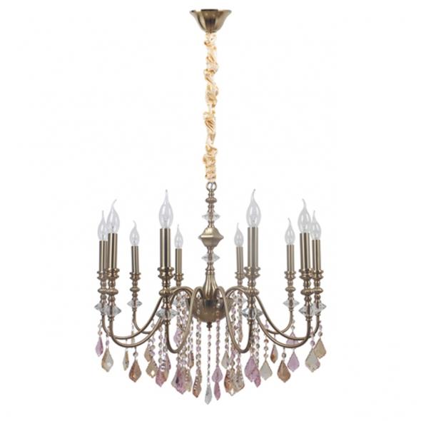 Hängeleuchte, Brass/Metal Transparent/Crystal Champagne/Crystal Amber//Crystal 10*40W E14 , 614012910