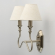 Wandleuchte, Satin Nickel/Metal White With Lines/Fabric 2*40W E14 2700K, 614021202