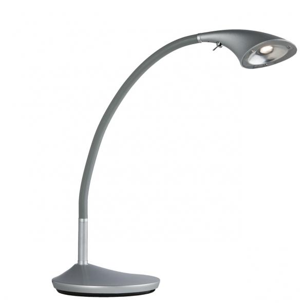 Tischleuchte, Silberfarbe/Metall Polyresin 1*6,5W Led Gluehbirne Inklusive 585 Lm, 631030201